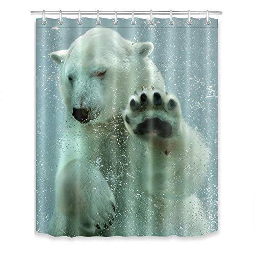 LB Duschvorhang & Haken Set,Eisbär unter Wasser Schwimmen,59