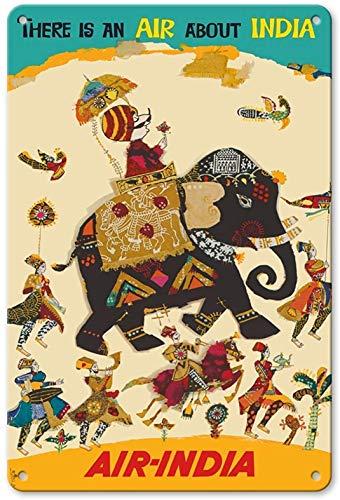 Letrero decorativo de pared con aspecto vintage de There Is Air About India de 20 x 30 cm, para cocina, granja, jardín, pub, hombre, cueva, divertido decoración de pared