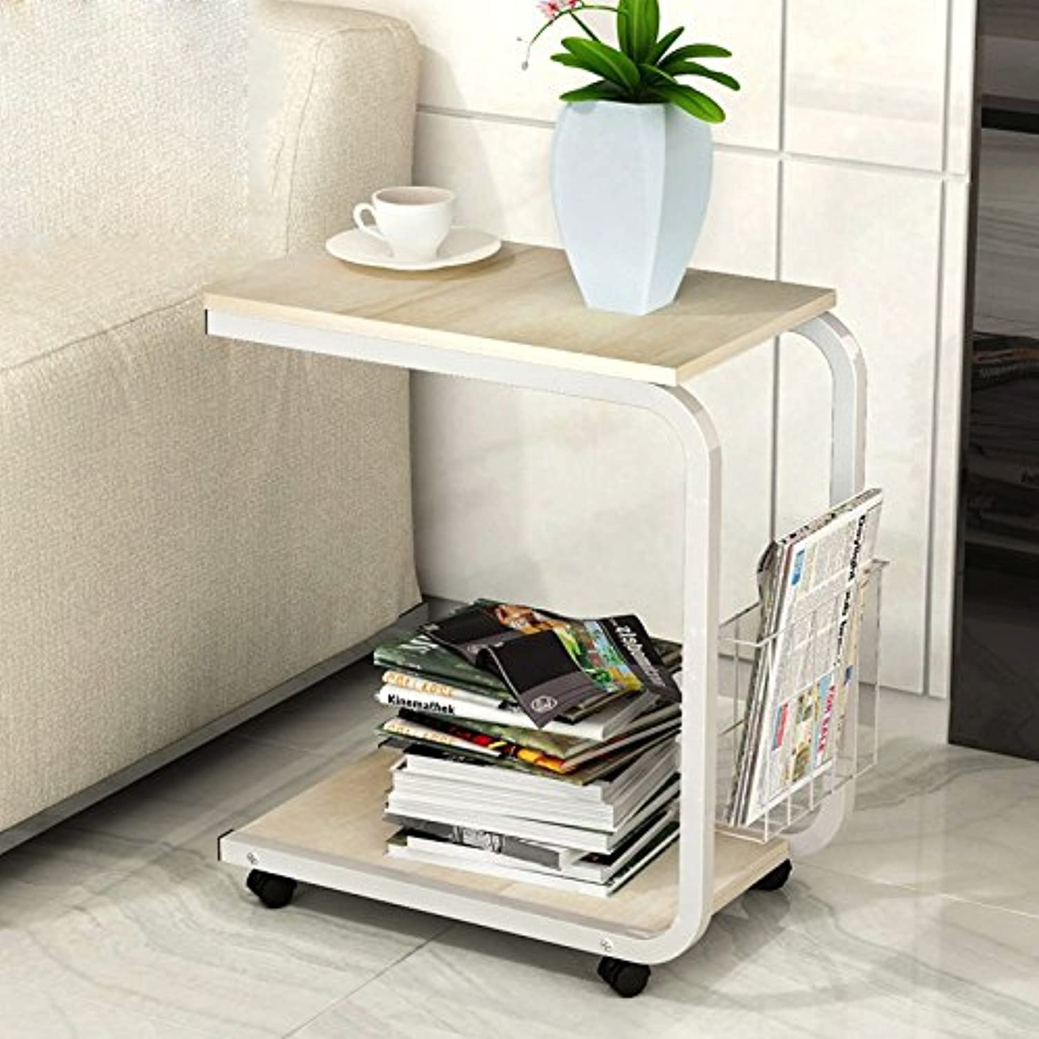 Feifei Mobile Coffee Table Simple and Modern Mini Sofa Cabinet Bedside Table 51  30  56CM (color   07)