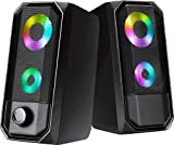Computer Speakers, HTRise 10W PC Speakers RGB Gaming with Enhanced Stereo Bass Colorful LED Light, USB Powered for Desktop Laptop Tablet Smartphones.