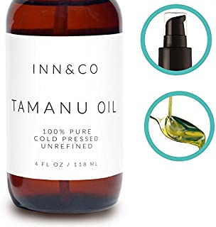 Organic Tamanu Oil 4oz - Unrefined and Cold Pressed, Hexane-Free - All Natural Relief for Dry Scaly Skin, Eczema, Acne Scars