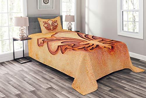ABAKUHAUS Orange Tagesdecke Set, Floral Royal Frankreich, Set mit Kissenbezügen Sommerdecke, für Einzelbetten 170 x 220 cm, Orange