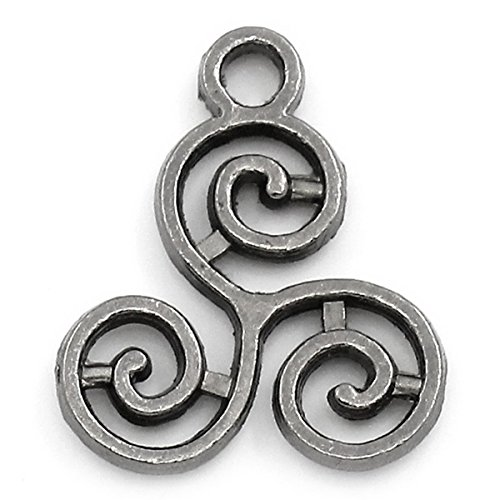 Housweety 50PCs Gunmetal Celtic Triskelion Charm Pendants 16x13mm(5/8'x4/8')