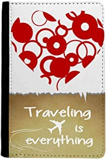 Red Valentine's Day Heart Ring Traveling quato Passport Holder Travel Wallet Cover Case Card Purse
