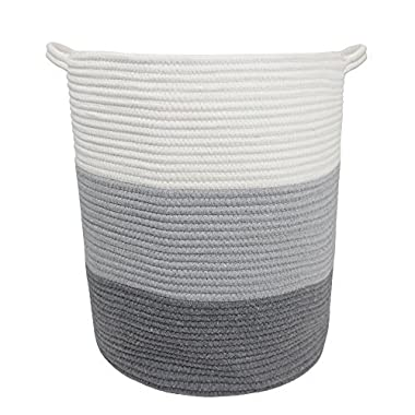 18  x 16  Extra Large Storage Baskets with handle Cotton Rope Woven Nursery Bins Soft Durable Laundry Baskets Nursery Hamper Organizer for kids' Toys Home Decor Blanket basket (18  x 16, Extra Large)