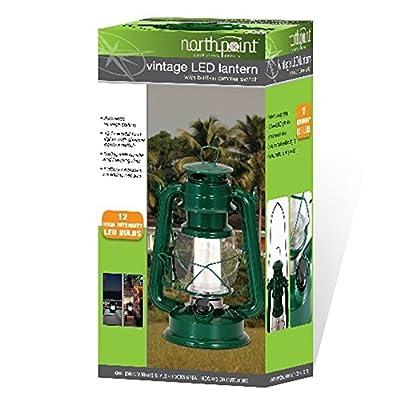 Northpoint LED Lantern, 12-LED 150-Lumen Lantern, Fresh Pine Indoor Outdoor Lantern, Home Decor Vintage Lantern, Battery Operated Hanging or Tabletop Hurricane Lantern
