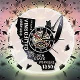 FDGFDG California Vinyl Record LP Reloj de Pared Decoración para el hogar Diseño Moderno Lámpara LED Luz Ancho Animal Reloj de Pared Reloj Regalo Familiar