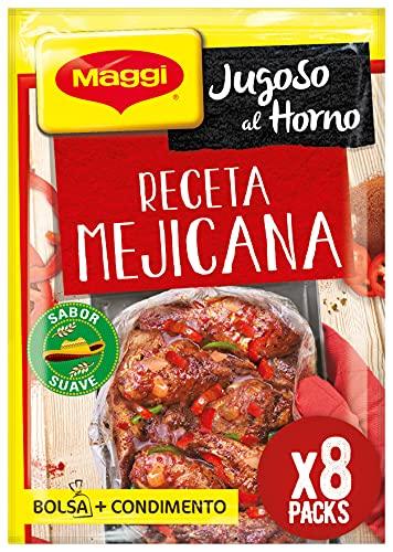 Maggi Jugoso al Horno Receta Mejicana - 1 Bolsa para Horno con Condimentos - Pack de 8x40g