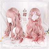 Estilo japonés Cute Lolita Mori Girl Peluca de pelo sintético ondulado grande Pelucas de disfraces de Cosplay para la fiesta de Halloween + Gorra de peluca FGO como la imagen