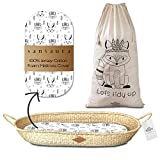 Sansaura Nursery Set - Baby Moses-Style Seagrass Diaper Changing Basket with Thick Waterproof Pad & 100% Cotton Fitted Sheet, Toy Storage Bag - Woodland Designs - Shower Gift for Newborns, Parents