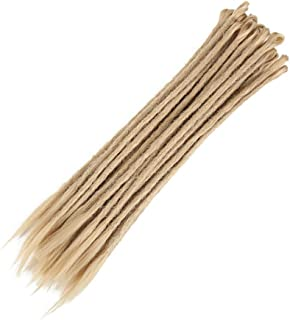 مجموعة من 10 وصلات شعر اصطناعي يدوية مجدولة من الكروشيه لاطالة الشعر بشكل عصري بنمط ازياء الهيب هوب باللون البيج