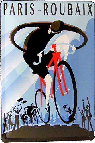 Blechschild 20x30 Radsport Rennrad Paris Roubaix 1896 im Retro Vintage Nostalgie Plakat Design Fahrrad Straßen Rennen Peloton