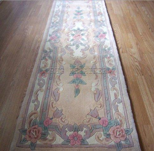 Tappeto cinese in lana beige fatto a mano tradizionale Aubusson Design – Corridoio Runner 65x210cm