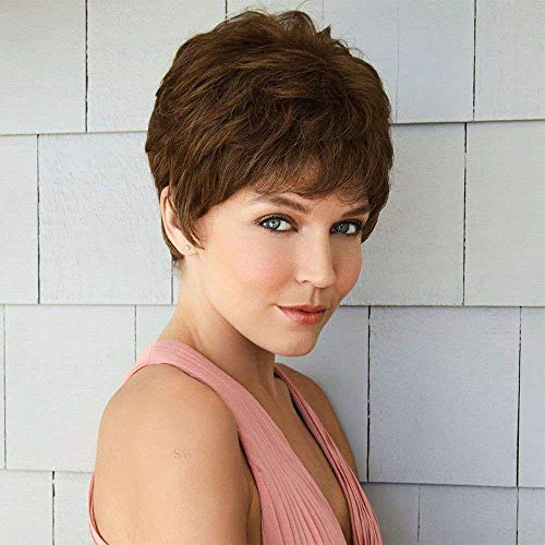 Queentas Chestnut Brown Short Pixie Wigs with Bangs Layered Cut Natural Curl Straight Synthetic Hair Wig for White Women (Chestnut Brown)