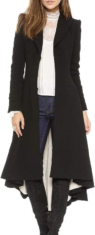 Desolateness Women's Long Coat Pleated Lapel Irregular Swallowtail Trench Parka Jacket