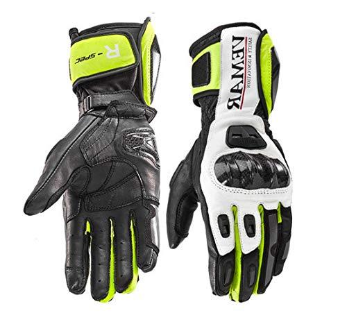 Vemar - Guantes de moto profesionales de piel Motocross Racing Pista protección carbono XL Verde