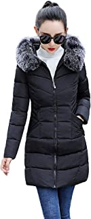 GREFER Fashion Women Long Jacket Winter Thick Slim Warm Coat Faux Fur Hooded Down Padded Parka Overcoat