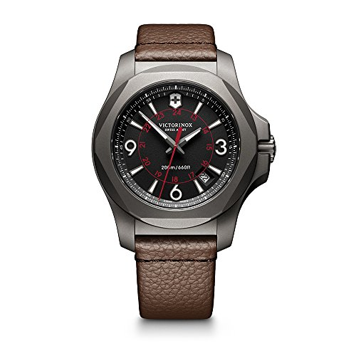 Victorinox Swiss Army Men's I.N.O.X. Titanium Swiss-Quartz Watch with Leather Strap, Brown, 21 (Model: 241778)