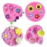 Flower Fondant Cake Molds-4 Pcs-Daisy Flower,Rose Flower,Chrysanthemum Flower and Small Flower,Candy...