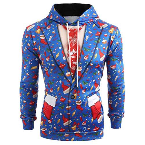 BOLANQ Herren Pullover Sale Pullover Damen, Männer Weihnachten Anzug Muster 3D Print Langarm Hoodie Caps Sweatshirt Pullover(Medium,Blau)