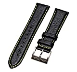 Nautica Men's NAD20504G | 22mm Black Padded Yellow Stitched Leather Original Replacement Watch Band/Strap