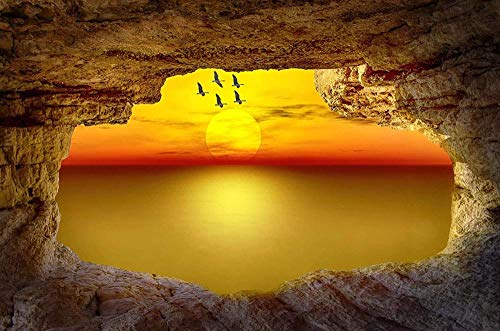 LYBSSG Seaside cave sunset - Jigsaw Puzzles For Adults 1000-Piece Diy Puzzle Kids Wooden Toys