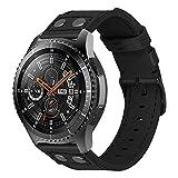 iBazal Correas Galaxy Watch 46mm Cuero 22mm Banda Piel Pulsera Compatible con Samsung Gear S3 Frontier Classic Reemplazo para Huawei Watch 2 Classic/GT 46mm,Ticwatch Pro/E2/S2 - Remache Negro