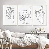 MKWDBBNM Love Hand Family Art Line Drawing Posters Abstract Kiss Minimalist Wall Art Impresión en Lienzo Pintura Cuadros Decorativos Modernos | 50x70cmx3 sin Marco