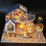 WANGCHAO Kit de Miniatura de la Handcraft Muñecas de Madera de DIY, Modelo de Villa con Vista al mar, con Luces LED y Cubierta de Polvo, Adecuado para Juguetes Regalos Coleccionables y Decoraciones