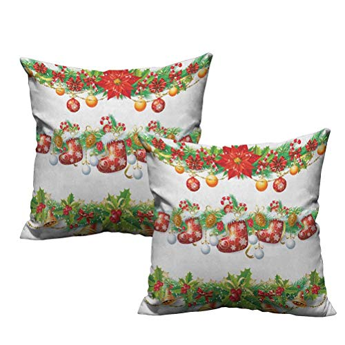 Two Piece White Pillowcases Traditional Garland Designs with Flowers Socks and Bells Mistletoe Candy 24'x24',Breathable Silky Ultra Soft