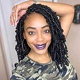 Butterfly Locs Crochet Hair Faux Locs 10 Inch 7 Packs Distressed Locs Crochet Hair For Black Women Soft Locs Bob Short Crochet Braids Pre Looped Synthetic Braiding Hair Extension (10 Inch, 1B#)