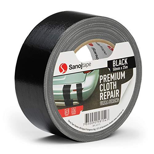Cinta Americana de Color Negro de Reparación Profesional y Cinta Gaffer de Tela Superresistente de Sanojtape de 50mm x 25m