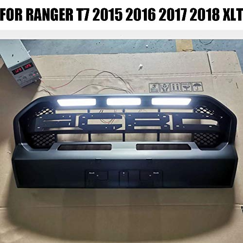KJHGTG MATT SCHWARZ Outside Modified MESH MASK Trims Cover ABS Grill Grill Compatible Wiht Ranger T7 2015 2016 2017 2018 FIT,Blackfont