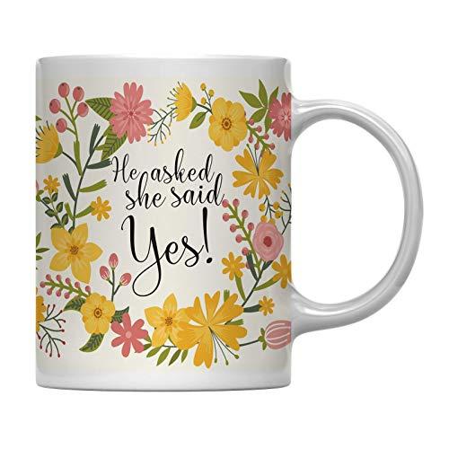 Regalo de la Taza de café de la Fiesta de Bodas, Flores Florales de Bohemia Vintage, ¡Él le pidió Que dijera cumpleaños de Compromiso de Despedida de Soltera 11 oz