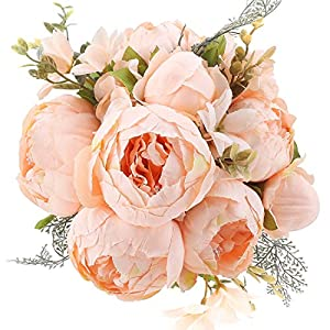 Flojery Silk Peony Bouquet Vintage Artificial Peonies Flower for Home Wedding Party Decor (1pcs, Spring Orange)
