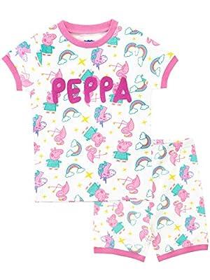 Peppa Pig Pijamas de Manga Corta para niñas Unicornio Blanco 12-18 Meses