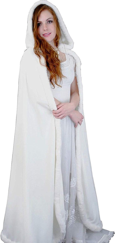 Winter Women's Wedding Bridal Cloak Christmas Cape with Faux Fur Edge
