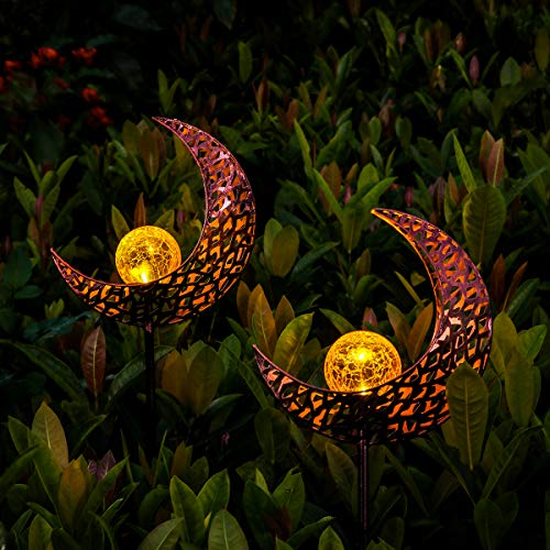YUNLIGHTS Solar Garden Lights Outdoor, 2 Pack Moon Crackle Glass Globe Solar Stake Lights, IP64 Waterproof LED Solar Powered Garden Lights for Garden Patio Lawn Backyard Pathway Decoration(Warm White)