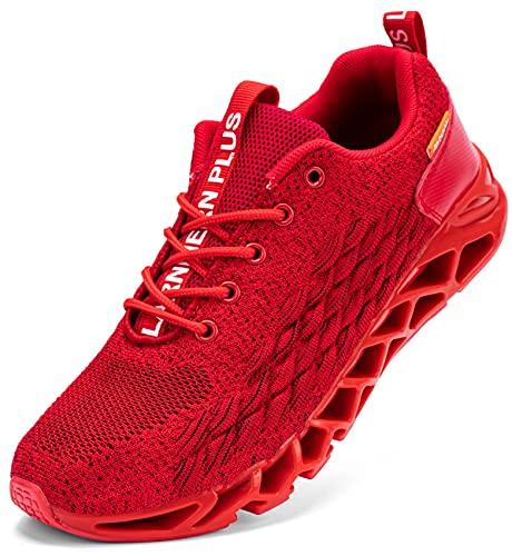LARNMERN Scarpe da Ginnastica Uomo Donna Corsa Respirabile Mesh Sportive Fitness Running Sneakers Basse Interior Casual all'Aperto(Rosso 40)