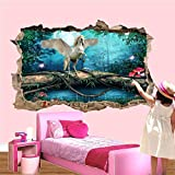 Wald Pegasus Wandaufkleber Kunst 3D Poster Aufkleber