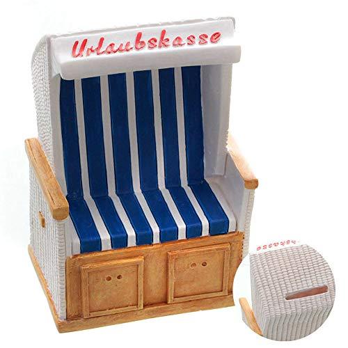 Spardose im Strandkorb Design - 11,5x7,5x6 cm - Geschenkidee Urlaubskasse Reisekasse Sparbüchse