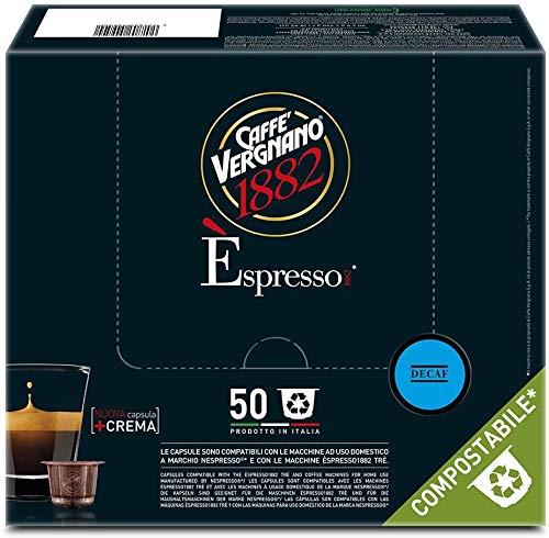 100 Capsule Caffè Vergnano Decaffeinato Compatibili Nespresso Compostabile