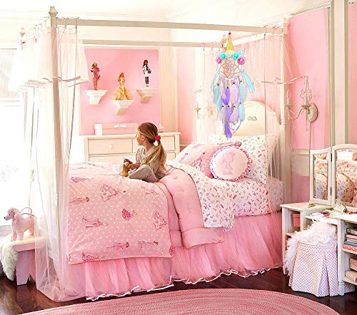 T-Antrix Unicorn Dream Catcher Handmade Feather Dream Catchers Flower Pink Dreamcatcher for Kids Macrame Wall Hanging Decoration Boho Decor for Bedroom Baby Shower Nursery Decor Gift for Kids