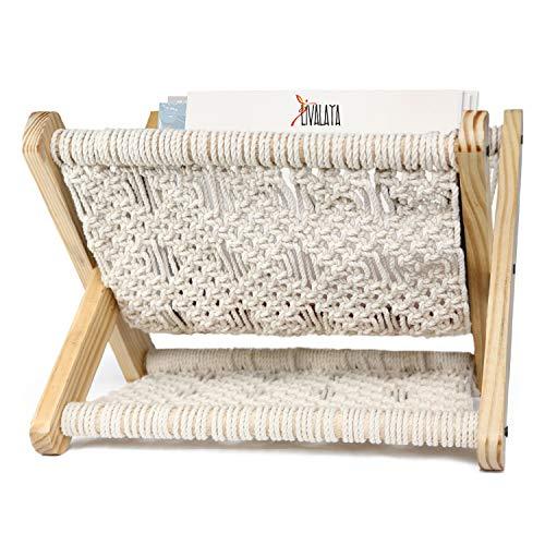 Livalaya Small Macrame Magazine Holder - Boho Room Decor Storage Basket Rack for Books, Mail, Remote, Desk Organizer, Nursery Decor, Home Office, Living Room, Boho Bedroom Home Decor, No Installation