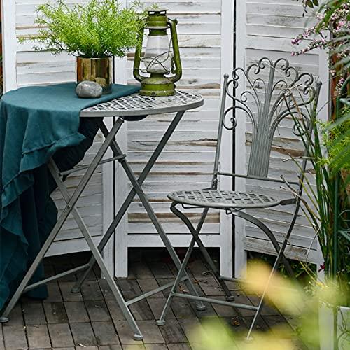 Juego de mesa y silla de bistró de 3 piezas, mesa auxiliar redonda para muebles de exterior, juego de mesa de balcón junto a la piscina, juego de acento para el patio trasero, soporte para comida para
