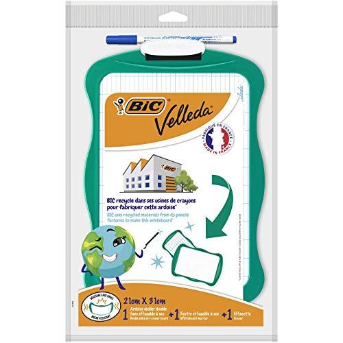 BIC Velleda Recyclebares Whiteboard (21 x 31 cm) Wischer; 1 abwischbarer Marker - Blaue Tinte, 3er Set