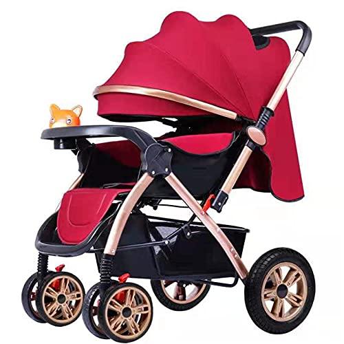 ZXJ Cochecito De Bebé Plegable Portátil Ligero Niños Buggy Respaldo Ajustable con La Manija Reversible Desde El Nacimiento hasta Los 3 Años (Color : Red)