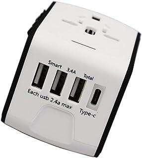 海外 変換プラグ アダプター スマホ充電器 海外旅行 変圧器(ホワイト)