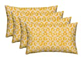RSH Décor Set of 4 Decorative Indoor Outdoor Throw Toss Pillows Choose Size and Fabric Color, Great for Porch, Patio, Deck and Home Decor (20'x12', Celtic Pineapple Yellow Geometric)
