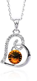 NickAngelo's Birthstone Love Heart Pendant Necklace Platinum Plated Made With Swarovski Elements Elegant Custom Jewelry For Women by Month And Color of Crystal